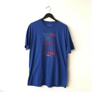 Eddie Bauer Paddle USA Flag Graphic Tee Shirt Blue